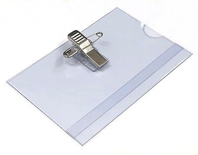 Conference Or Visitor Badge Holders Name Badges Safety Pin Combi Clip 60 X 90mm • 0.99£
