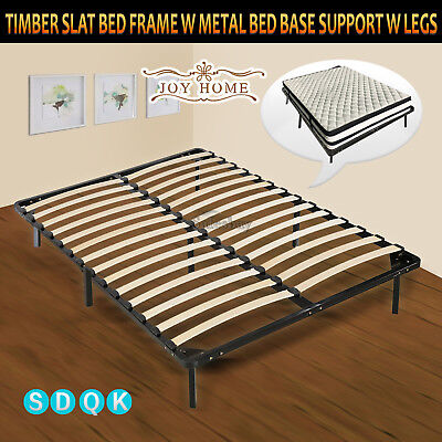 AU125.46 • Buy Timber Slat Bed Frame W Metal Bed Base Support W Legs Single/Double/Queen/King