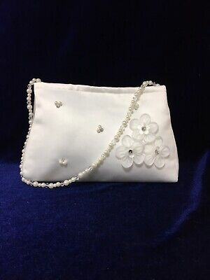 Ivory Satin Bag With Beaded Handle  Holy Communion, Bridesmaid/Flower Girl BN • 9.99£