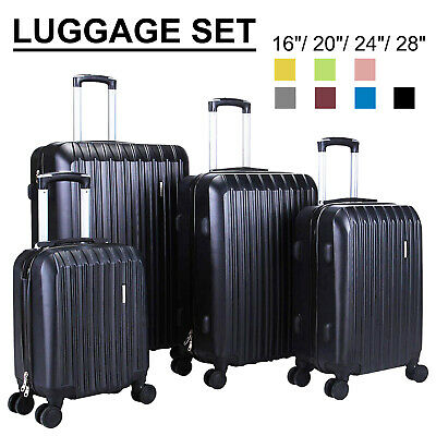 """View Details 1/3/4Pcs Travel Luggage Set Bag Trolley Spinner Suitcase ABS W/Lock 16""""20""""24""""28"""" • 98.90$"""