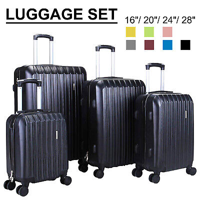 """View Details 3/4Pcs Travel Luggage Set Bag Trolley Spinner Suitcase ABS W/Lock 16""""20""""24""""28"""" • 98.90$"""