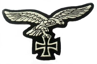 £4.99 • Buy GERMAN LUFTWAFFE SILVER EAGLE IRON CROSS PATCH WW2 STYLE NEW REPRO Aufnäher