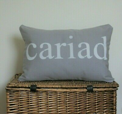 Cariad Cushion Covers Grey Silver Stencilled Love Rectangle Oblong Welsh Cushion • 16.99£