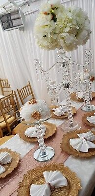 £25 • Buy 9 Arm Clear Crystal Candelabra Pillar Candle Holder Centerpiece For Hire