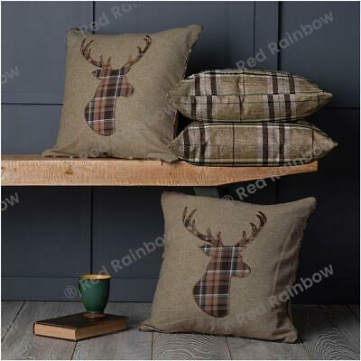 £22.99 • Buy  Set Of 4 Tartan Check Cushion Covers Brown Latte 18 Inch Country Stag Or Hare
