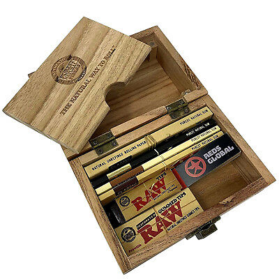 RAW Wooden Deluxe Rolling Storage Box Gift Set Classic Smoking Papers RedsGlobal • 18.99£