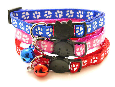 Cat Collar Kitten Paw Print Safety Release Break Free Snap Adjustable With Bell  • 2.99£