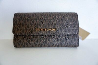 248fbc9b40aa6 Nwt Michael Kors Jet Set Travel Sm Mk Signature Large Trifold Wallet Brown  Acorn • 58.99