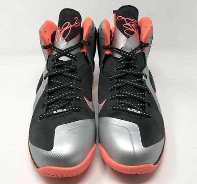 "check out 28a50 7049b 2012 Nike Lebron 9 ""Bright Mango"" Size 12 METALLIC SILVER BLACK 469764 005 •"