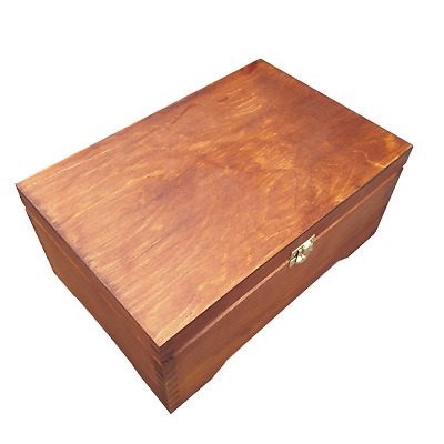 Wooden Jewellery Chest/ Box Lockable Latch In Brown Color • 23.99£