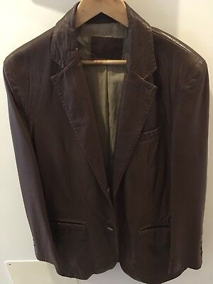 AU90 • Buy Massimo Dutti Soft Brown Leather Jacket Size M