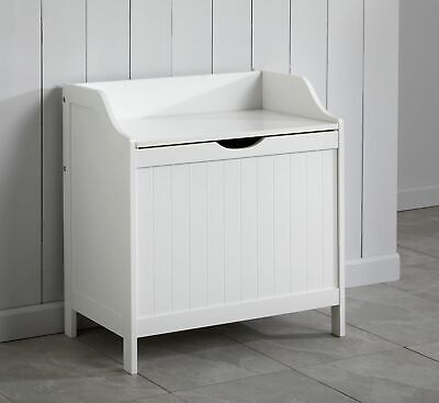 White Wooden Monks Bench Storage Chest Ottoman Laundry Box Home Trunk • 49.99£