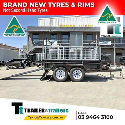 AU4100 • Buy 9x5 TANDEM AXLE HEAVY DUTY ALL-PURPOSE TRAILER + CAGE + RACKS +RAMPS +NEW TYRES
