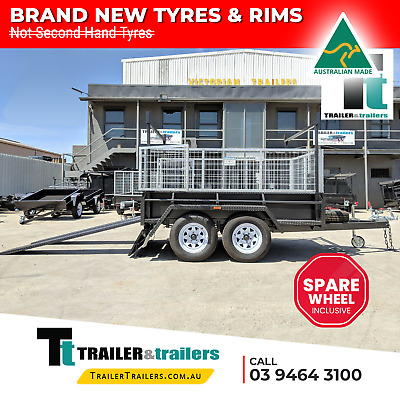 AU4200 • Buy 9x5 TANDEM AXLE HEAVY DUTY ALL-PURPOSE TRAILER +CAGE +RACKS +RAMPS +SPARE WHEEL