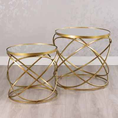 Gold Metal Spiral Mirrored Glass Set 2 Nest Side End Lamp Coffee Tables (gb435) • 189£