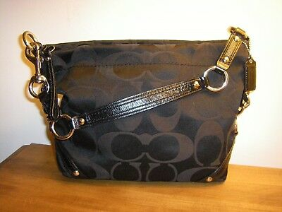 4fdfe4637493 Coach Carly Signature C s Black Sateen Jacquard black Patent Leather Trim •  74.99