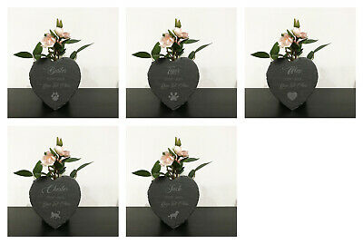 Personalised Engraved Slate Pet Memorial A Stone Heart, Grave Marker Plaque  • 6.49£