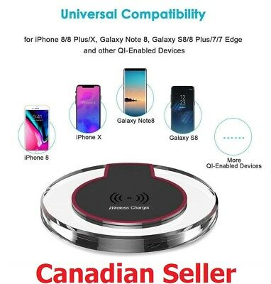 $ CDN9.99 • Buy Wireless Charging Pad Qi Charger For IPhone X XR XS Max 8 Plus Samsung S7 S8 S9