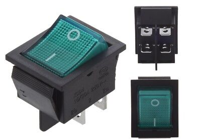 £4.59 • Buy Rocker Switch 30A / 25A 240V Mains Green ON / OFF Double Pole 4 Pin DPST X1