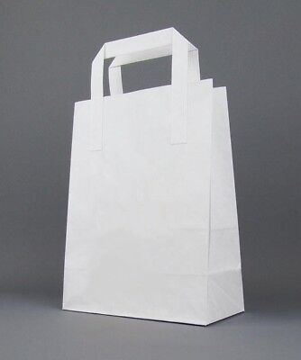 Strong Kraft Paper SOS Carrier Bags With Flat Handles - White & Brown • 3.37£