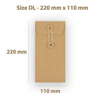 Manilla String & Washer DL Size Bottom&Tie Envelopes - With Gusset Cheap • 7.19£
