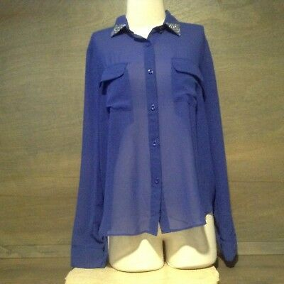 $9.99 • Buy Sans Souci Womens Sheer Blouse Top Button UP BLUE LONG SLEEVE POCKETS SIZE LARGE