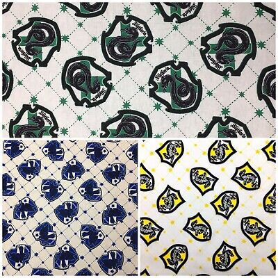 AU6.25 • Buy Harry Potter *CHOOSE DESIGN* Ravenclaw Slytherin Hufflepuff Quilting Fabric FQ