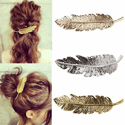 $0.76 • Buy Women  Leaf Feather Hair Pin Jewelry Women Vintage Hair Clip Barrette Bobby Pins