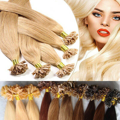 $22.50 • Buy 100% Real Remy Human Hair Extensions Nail U Tip Keratin Glue Pre Bonded 1G/S US