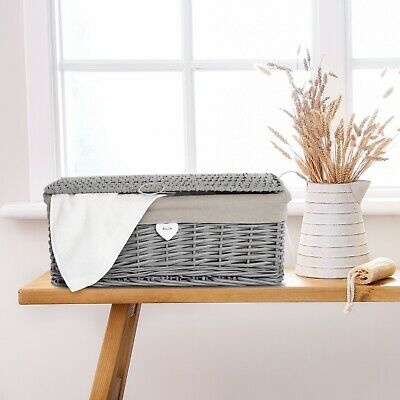 New Grey Painted Lid Wicker Basket Storage Collection Shelve Box Gift Hamper • 18.99£