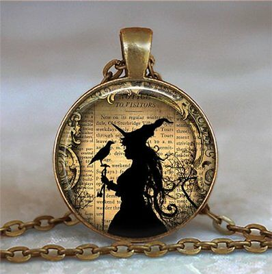 £1.96 • Buy Witch And Raven Photo Tibet Silver Cabochon Glass Pendant Chain Necklace