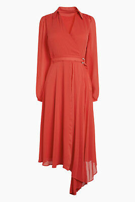£12.95 • Buy Ex Next Red Pleated Wrap Dress With Pleat Detail Skirt  Size 6-16 RRP £60