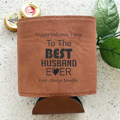 AU14.75 • Buy Valentine's Day Personalised Leatherette Stubby Holder Engraved Gift For Him