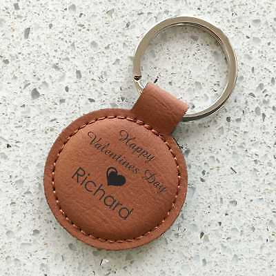 AU12.50 • Buy Valentine's Day Personalised Leatherette Keyring Engraved Valentines Day Gift