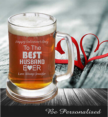 AU15.50 • Buy Valentine's Day Personalised Beer Stein 500ml Glass Mug Engraved Gift For Him