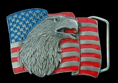 $12.95 • Buy Small Eagle And Flag Belt Buckle Vintage 1990 Childrens New!