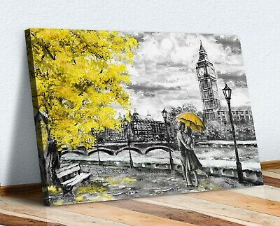 London Big Ben Grey Yellow Umbrella Canvas Wall Art Picture Painting Print • 12.99£