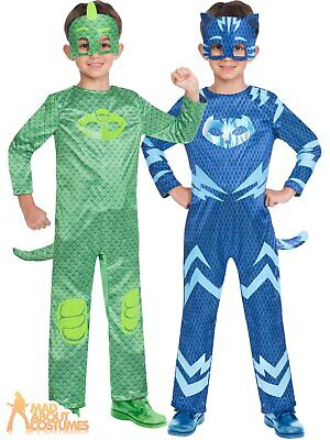 Kids Reversible PJ Mask Costume Boys Catboy Gekko Fancy Dress Book Day Outfit • 14.99£
