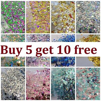 Chunky Festival Glitter Mix Face Eye Body Club Cosmetic 15x 5g BUY 5 GET 10 FREE • 1.19£