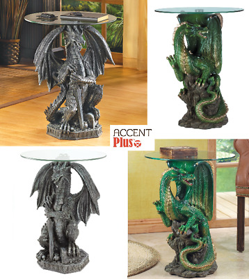 $149.99 • Buy Dragon Statue Table Round Tempered Glass-Top Home Medieval Decor Side Table New