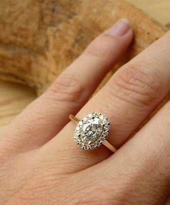 AU85.99 • Buy 1.84ct Fancy Yellow Gold Oval Cut Halo Vintage Diamond Engagement Ring