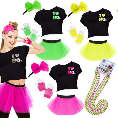 80s Costume NEON 80s FANCY DRESS TUTU GLOVES AND BEADS HEN PARTY COSTUME • 3.99£