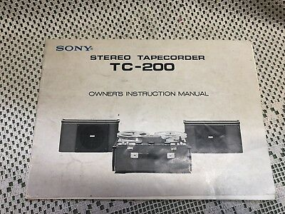 $30 • Buy  SONY TC-200 Owners Instruction Manual Tape Talk Stereo Tapecorder Reel To Reel