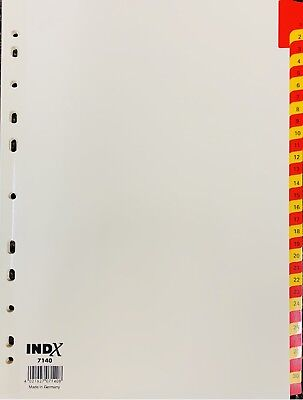 £2.25 • Buy A4 Red And Yellow Coloured Numbered Index Divider Cards - Numbers 1 - 31