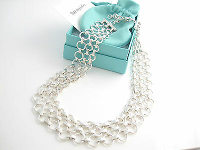 £1414.82 • Buy Tiffany & Co RARE Silver Interlocking Circles Wide Link Necklace Chain!
