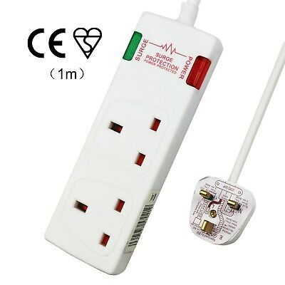 2 Way 13A UK Plug Sockets Surge Protected 2 Gang Extension Lead With 1M Cable  • 6.28£