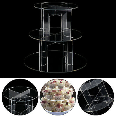 £11.29 • Buy 3 Tiers Circle Round Acrylic Cupcake Party Wedding Cup Cake Stand Holder Display