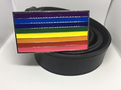 £19.99 • Buy Rainbow Flag Gay Pride Buckle Black Real Leather Belt 38mm Hand Made E1 Box 2