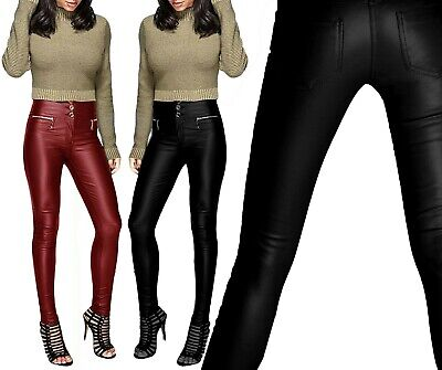 New Women's Ladies Sexy Trousers Leather Look Slim Fit Skinny 3 Button Zip Jeans • 17.99£
