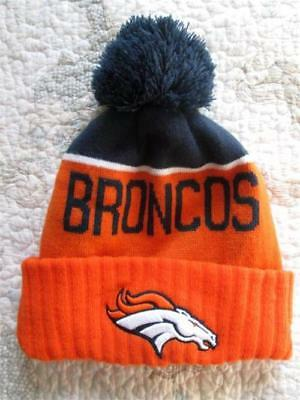 ... cheap denver broncos nfl football orange blue knit beanie hat pom white  horse clean 72fd8 a0535 03ebe63de